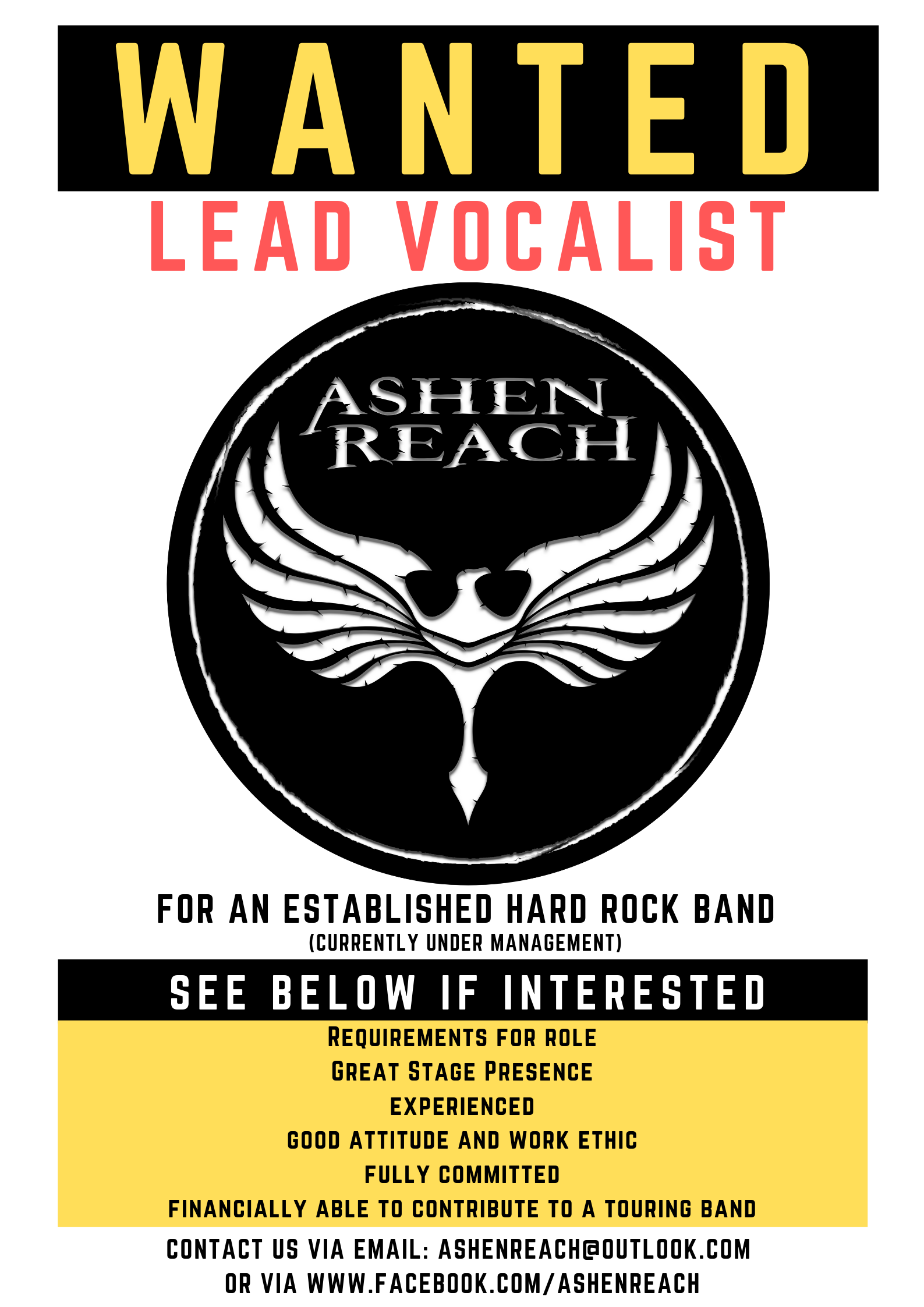 Ashen Vocal Wanted